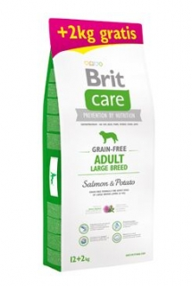 Brit Care Dog Grain-free Adult LB Salmon&Potato 12+2kg